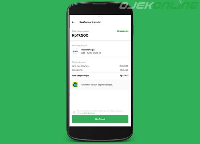 Konfirmasi Transfer GoPay Ke Rekening Bank