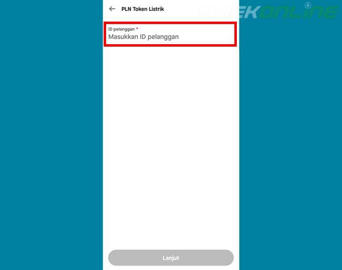 Masukan ID Pelanggan PLN